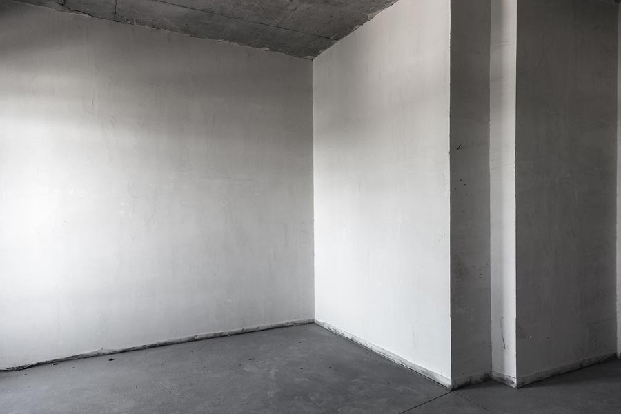 Plastered wall with smooth finish